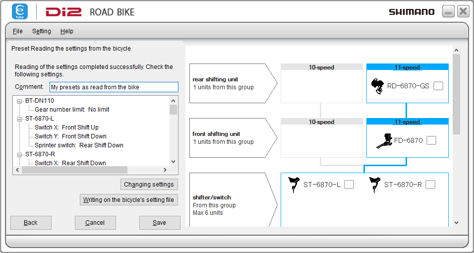 Settings as read from the bike